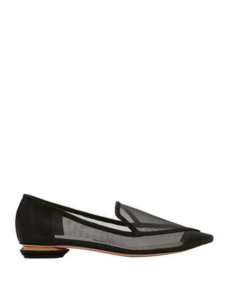 Beya Mesh Pointed Loafers