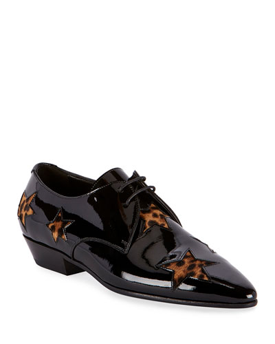Jonas Lace-Up Loafers with Leopard Insets
