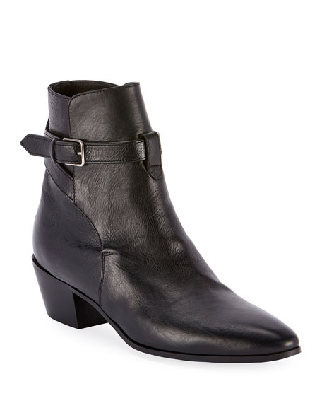 West Jodhpur Leather Booties by Saint Laurent