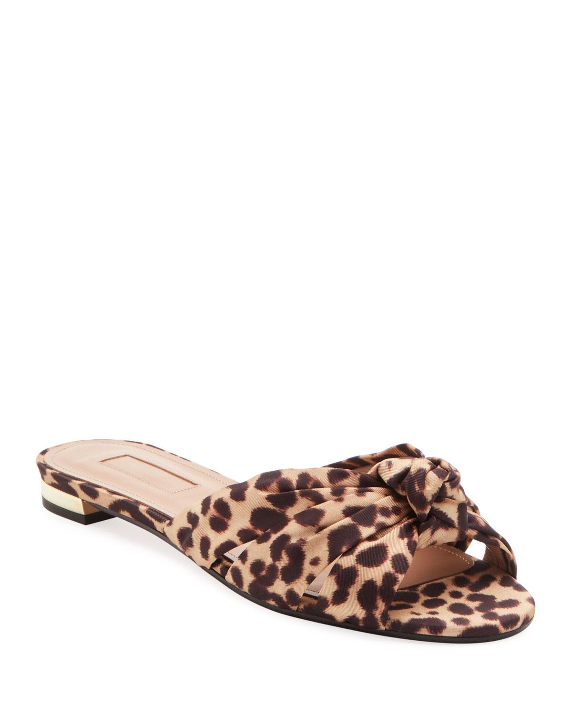 Aquazzura Flats Menorca Leopard-Print Knotted Flat Sandals