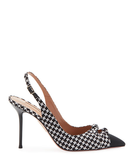 Houndstooth Woven Fabric Pumps