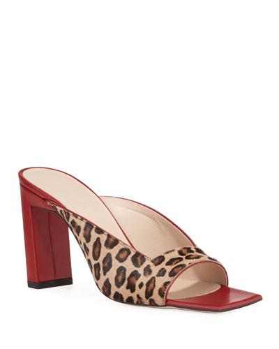 Isa Leopard Calf-Hair Square Sandals
