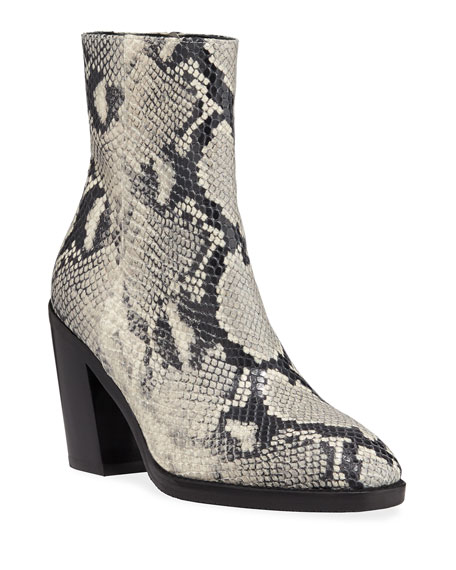 Wynter Python-Embossed Leather Booties
