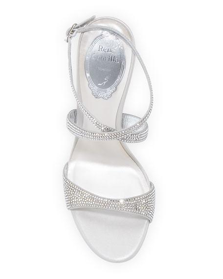 Krisabrita Crystal Satin Ankle-Wrap Sandals