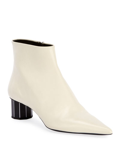 Leather Pointed Mirror-Heel Booties  White