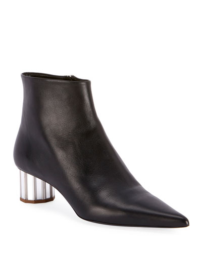 Leather Pointed Mirror-Heel Booties  Black