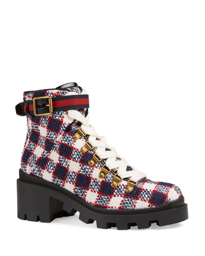 55169f7786f Trip Vintage Tweed Check Boots Quick Look. Gucci