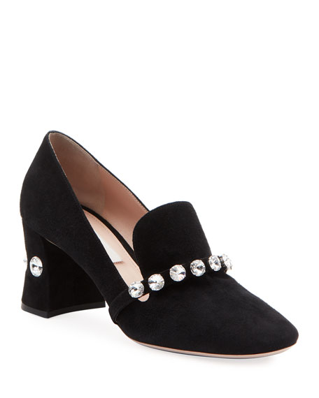 Crystal Suede Block-Heel Loafers