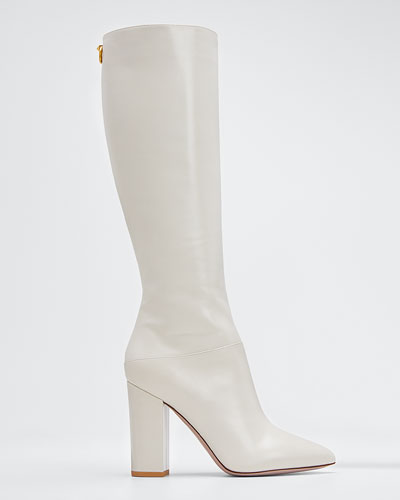 Ringstud Leather Knee Boots