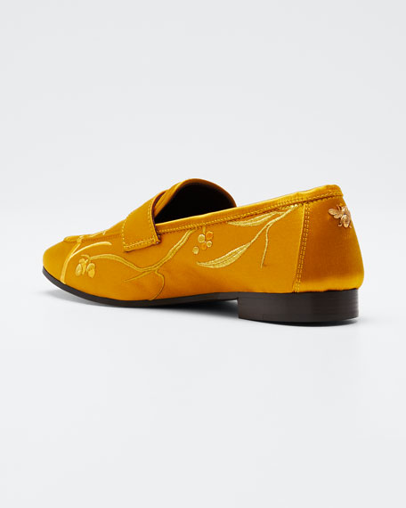 Embroidered Bullfinch Satin Loafers