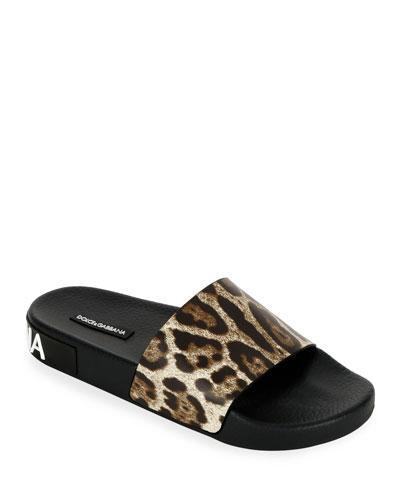 Leopard Logo Pool Slide Sandals