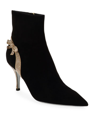 Suede Booties with Strass Bow