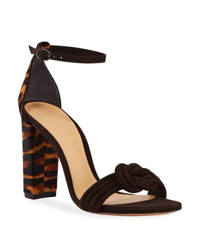 Vicky Tiger Calf Hair Sandals