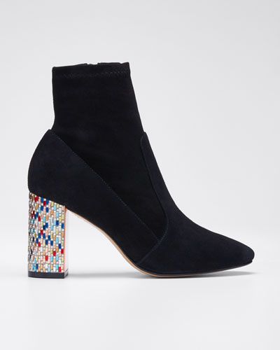 Toni Ankle Booties with Mosaic Heel