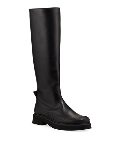 Chunky Leather High Shaft Boots