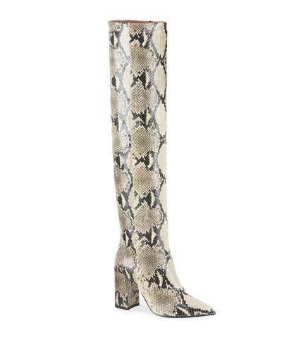 Izzy Over-The-Knee Python-Print Boots