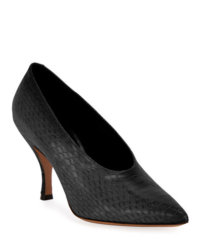 Pointed Snake-Print Pumps