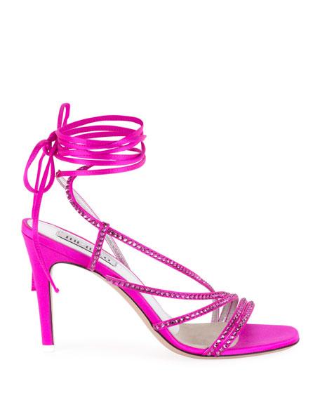 Crystal-Embellished Wrap Sandals