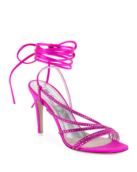 Image 1 of 1: Crystal-Embellished Wrap Sandals