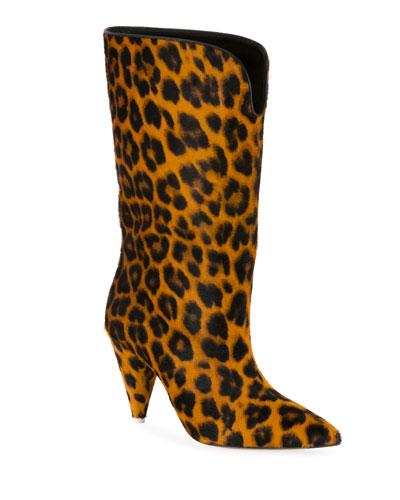 Leopard Calf Hair Boots