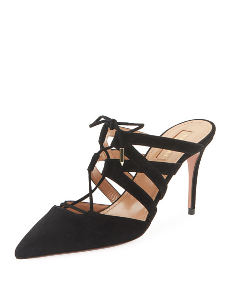 Image 1 of 1: Belgravia Mid-Heel Suede Lace-Up Mules