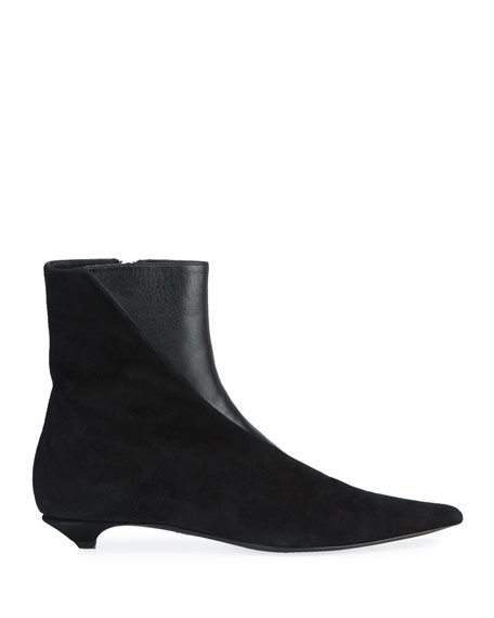 Leather & Suede Kitten-Heel Booties