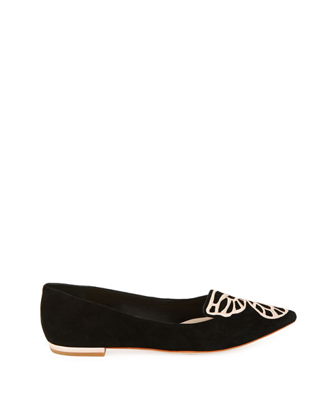 Bibi Butterfly Embroidered Suede Flats