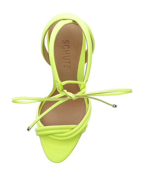 Yvi Twisted Leather Ankle-Tie Sandals