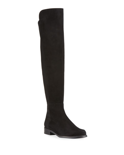 50/50 Suede & Gabardine Over-the-Knee Boots