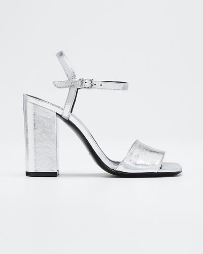 Metallic Leather Ankle Sandals