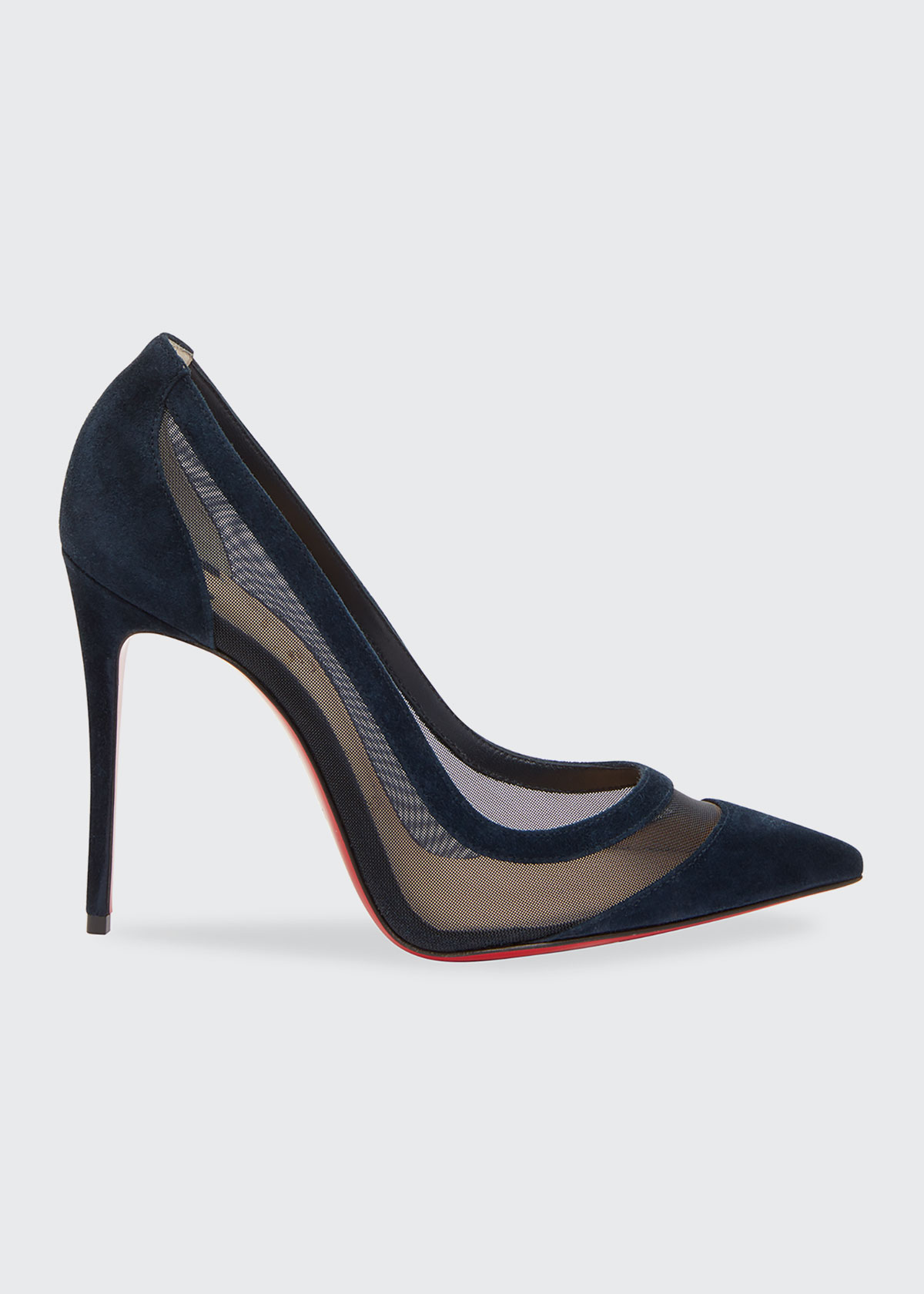 Christian Louboutin Pumps GALATIVI SUEDE AND MESH RED SOLE PUMPS