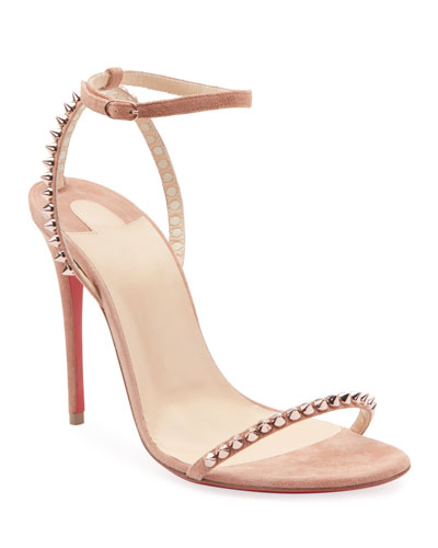 So Me Spike Red Sole Sandals  Nude