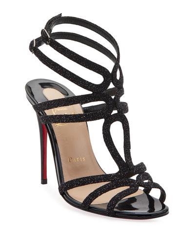 Renee Glitter Red Sole Sandals  Black