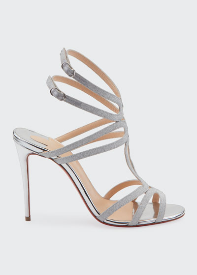 Renee Glitter Red Sole Sandals  Silver