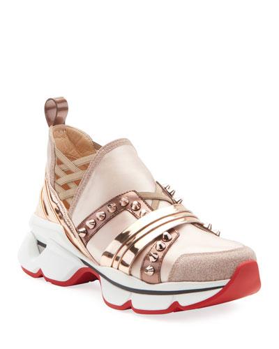 123 Run Flat Glitter Red Sole Sneakers