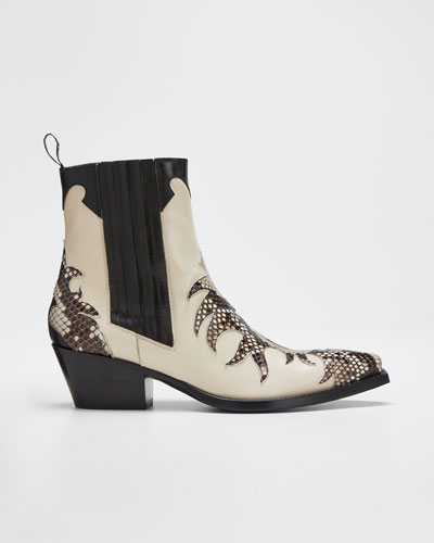 Mixed Leather & Python Western Booties