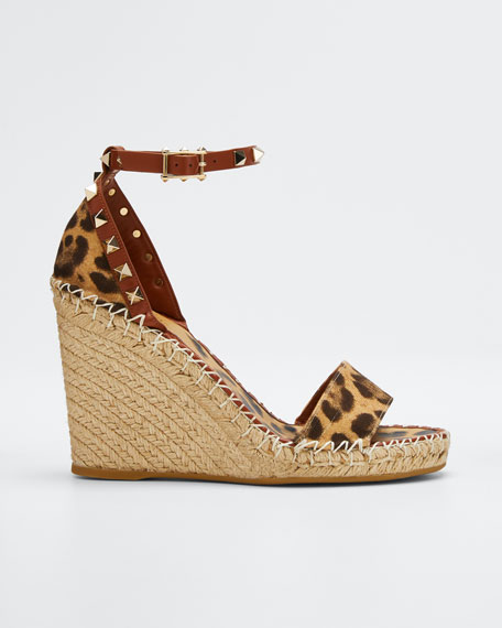 Canvas Leopard Wedge Espadrilles