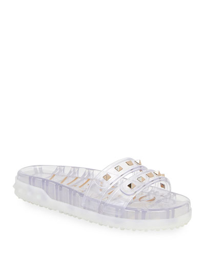 Rockstud Two-Strap Jelly Sandals