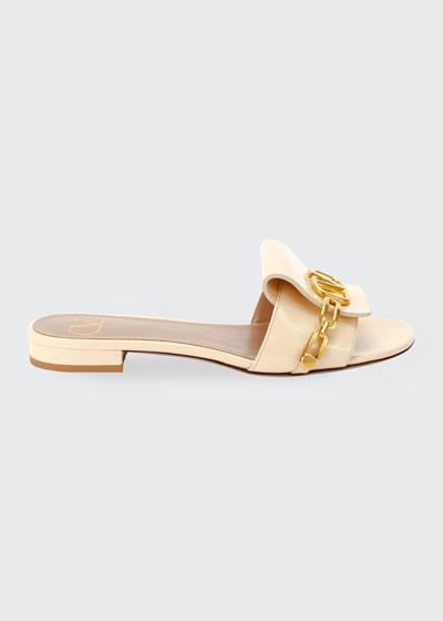 Patent V Logo Flat Sandals