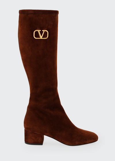 V Logo Suede Knee-High Boots
