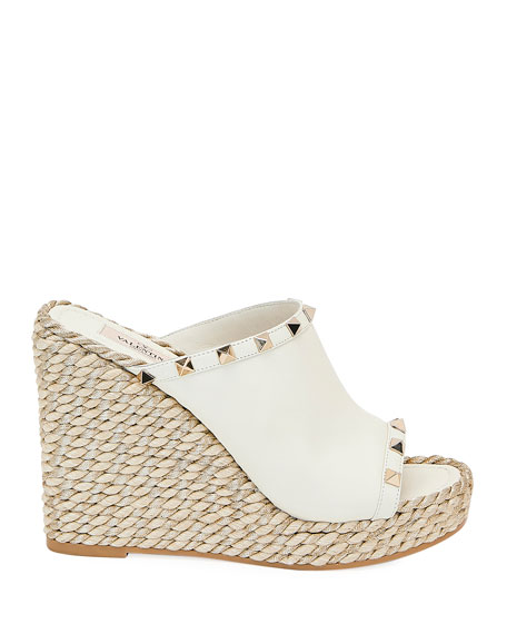 Rockstud Leather Wedge Espadrille Sandals