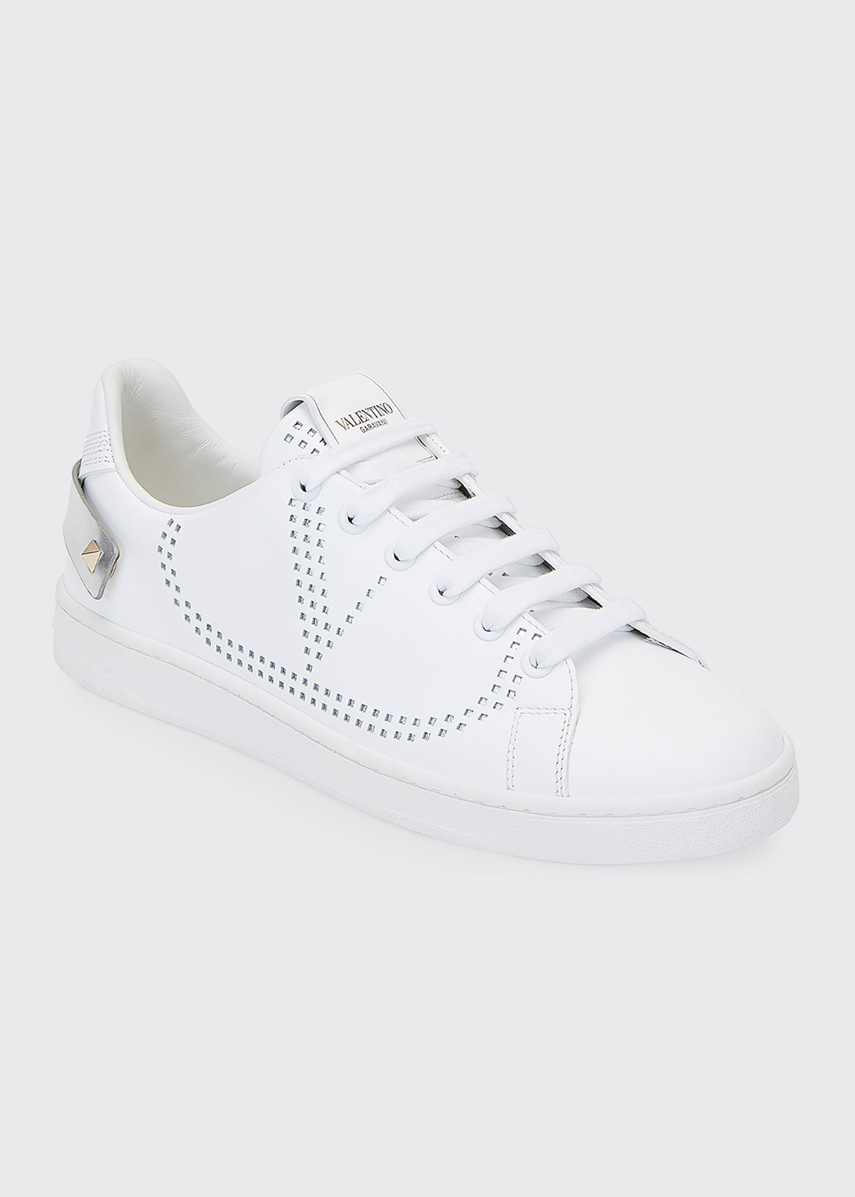 Valentino Sneakers BACKNET LOW-TOP SNEAKERS WITH METALLIC ROCKSTUD TAB