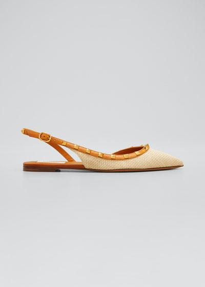 5mm Rockstud Woven Straw   Ballet Flats