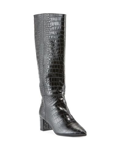 Karen Croc-Embossed Leather Knee Boots