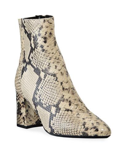 Posey Snake-Print Leather Booties