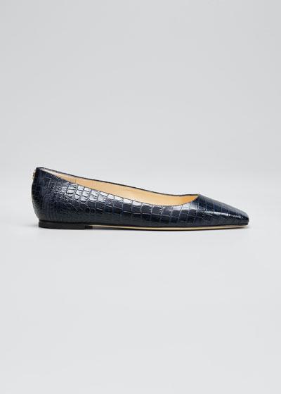Mirele Mock-Croc Ballet Flats