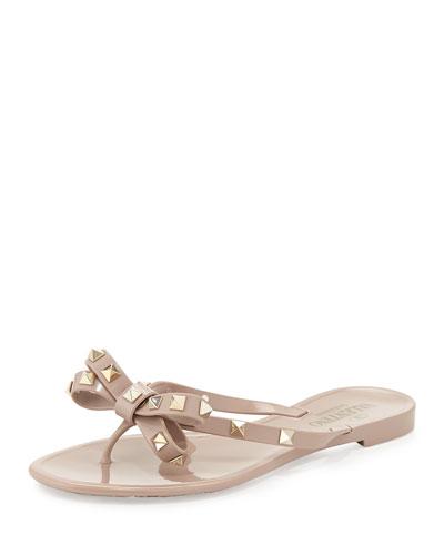 Rockstud PVC Thong Sandals  Poudre