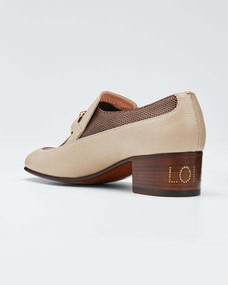 Women's Leather & Lizard Horsebit Chain Loafers