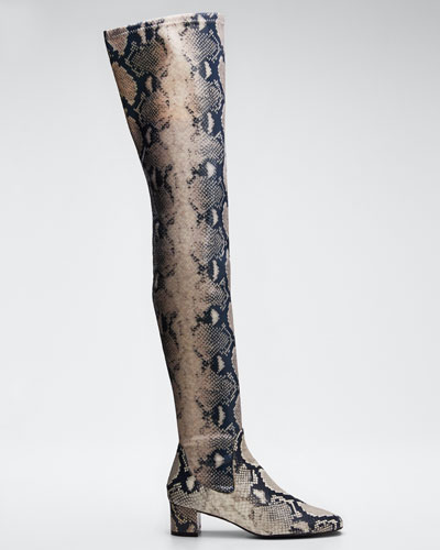 Estelle 45mm Over-The-Knee Python-Print Leather Boots
