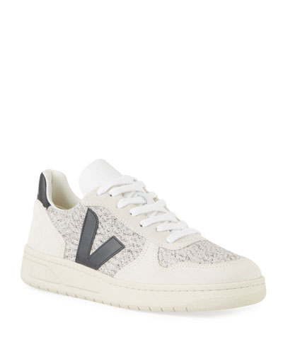 V10 Flannel and Leather Sneakers